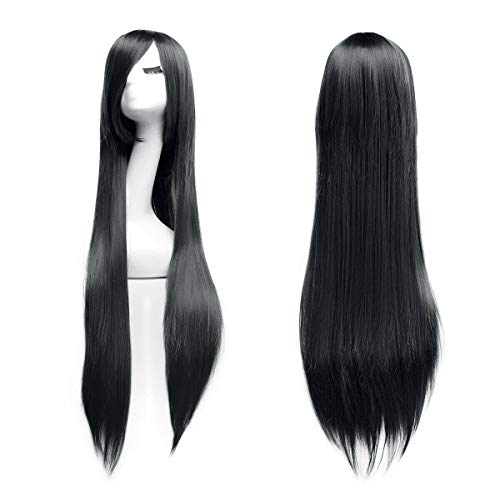 Logtronik 100cm Perruque Cosplay Longue et Raide Cheveux Naturels Idéal pour Soirée Déguisement Halloween Noël Mascarade Femme (noir)
