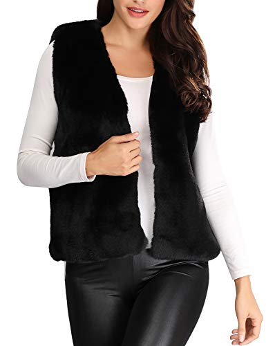 Caracilia Women's Fashion Autumn and Winter Warm Short Faux Fur Vests Waistcoat Jacket with Pockets Black S CAFB1