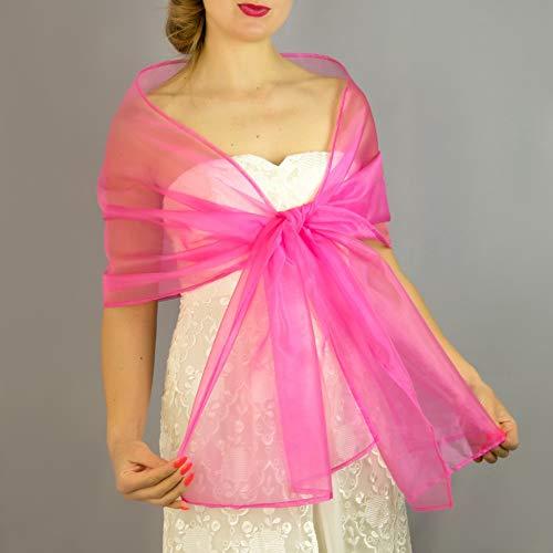 Chal organza color fucsia rosa novia boda