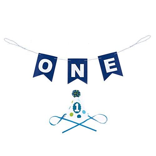 Blue Panda Hochstuhl Dekorationen für die 1. Geburtstag - 2-teiliges Set - Boys' First Year Birthday Party Pack - Mit Filz-Geburtstags-Party Banner und Filz-Party-Hut - Geburtstagspartybedarf, Blau