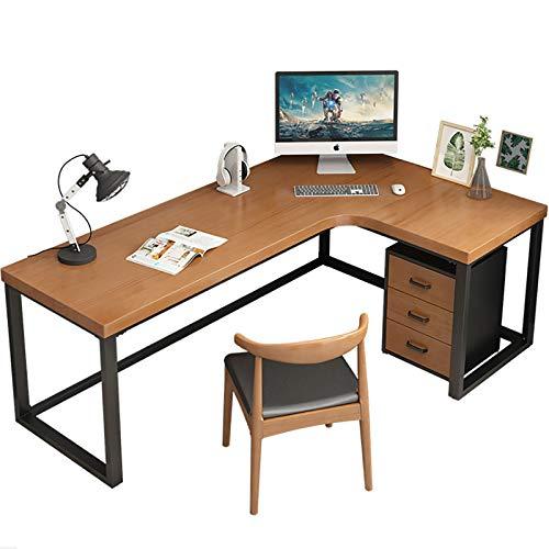 Escritorio de esquina grande, escritorio en forma de L, mesa de estudio de escritura Fácil de montar Escritorio moderno en forma de L Ahorro de espacio para la estación de trabajo de oficina en casa