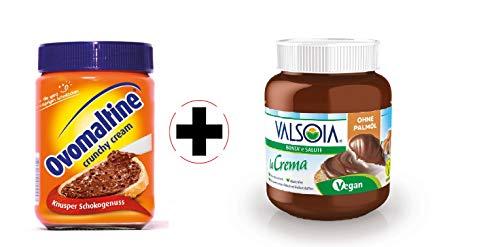 Ovomaltine Crunchy Cream 380g + Valsoia la Crema die vegane Aufstrichcreme 400g | 2er Probierangebot