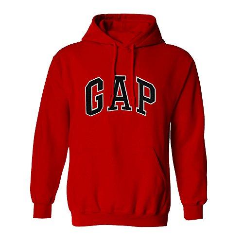 GAP Pullover Men's Fleece Hoodie Arch Logo Long Sleeve (Medium, Red)