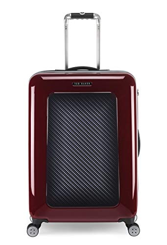 Ted Baker Men's Hardside Spinner Luggage Herringbone Collection (Burgundy Graphite, Checked-Medium)