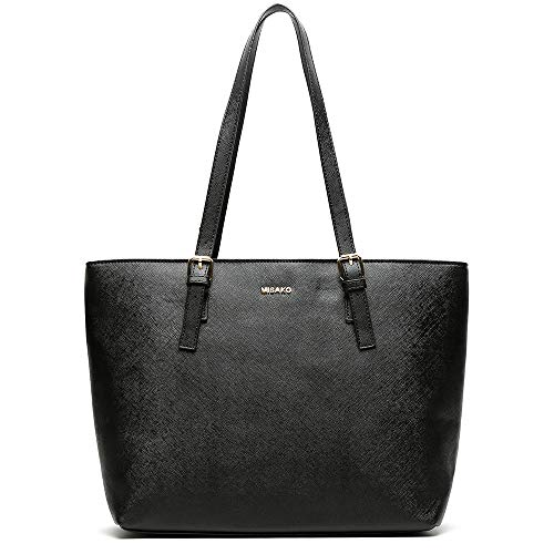 MISAKO - Bolso ASIAN Shopping 15x45x29 cm Símil Piel Negro | Bolso Tote MSK - Bolso de Mujer Grande