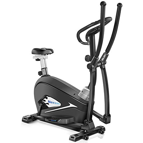 Neezee Cross Trainer Machine 2021New Version - 4 in1 Elliptical Exercise Machine, Heavy Duty capacity 330lbs, With LCD Monitor and Pulse Heart Rate Sensor Perfect for the Home Gym