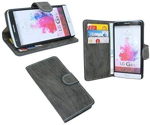 ENERGMiX Buchtasche kompatibel mit LG G3 S D722 Hülle Hülle Tasche Wallet BookStyle mit Standfunktion Anthrazit