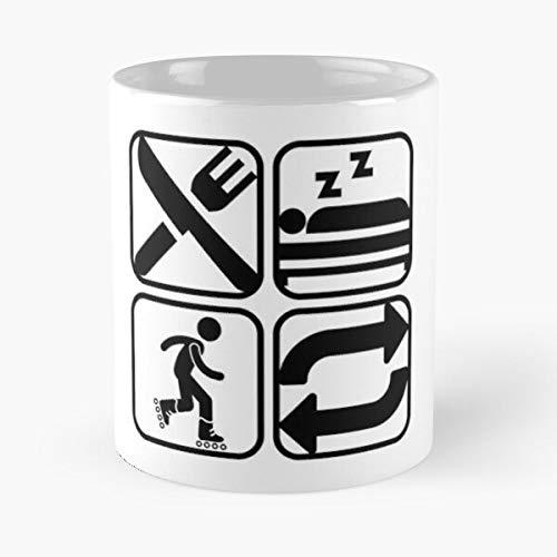 Skating Rollerskating Meme Eat Repeat Sleep Roller Quote I FSGdesign- White marble Ceramic coffee Mug-Trendy Printed & design for Valentine's Day, Boyfriend, Girlfriend, Husband or Wife