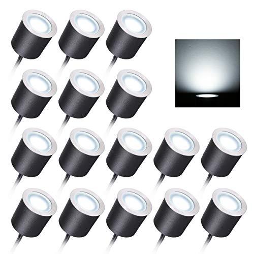 Lixada Luz Foco Empotrable al Suelo LED de Bajo Voltaje Empotrado Luces de Cubierta IP67 Impermeable Lámpara Empotrada en el Suelo Luz de Paisaje para Patio Jardín Camino Escaleras