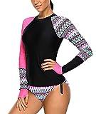 Viloree Bañador para mujer con protección UV, camiseta de manga larga, ajustada, con cordón, camiseta de surf, Rosa., Small