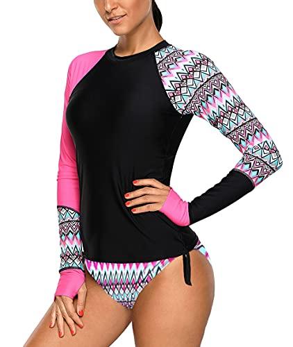 Viloree Bañador para mujer con protección UV, camiseta de manga larga, ajustada,...