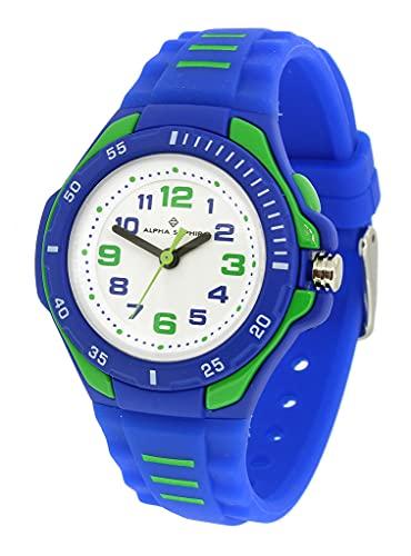 Alpha Saphir 393E 35036 - Reloj de pulsera analógico para niños, de plástico, mecanismo de cuarzo, color azul