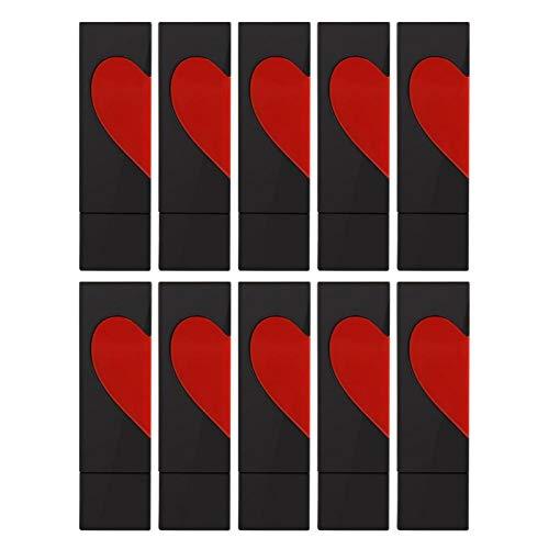 Plast tomma läppstift rör självtillverkade läppstift form kärlek hjärta läppbalsam rör gör-det-själv läppstift kosmetisk behållare tio)