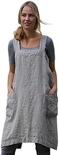SODIAL Vintage Overalls Dress For Women Pocket Apron Cross Strap Dress Cotton Casual Loose Sleeveless Sundress Lady Black M