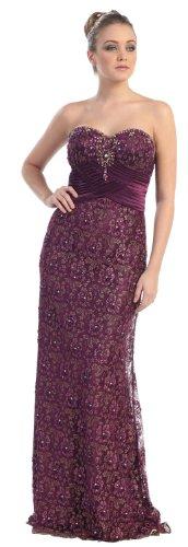 Big Sale Strapless Formal Prom Dress Jr Long Evening Gown #7017 (8, Eggplant)