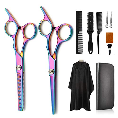 HarrierWing Rainbow Hair Cutting Scissors Kit, 11 Pcs Stainless Steel Thinning Shears Professional Haircut Barber Scissors for Home Salon Barber