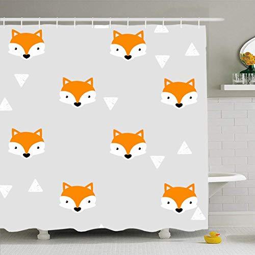 Ahawoso Duschvorhang Set mit Haken Drucken Stilvolle Fox Muster Füchse Gesichter Natur Geometrische Tiere Wildlife Kid Texturen Nettes Banner Wasserdichtes Polyestergewebe Bad Dekor für Badezimmer