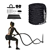 Brobantle 30ft Battle Rope Workout Equipment Gym Fitness Equipment for home Workouts Exercise Training Rope Heavy Weighted Rope for Strength Training Home Gym Outdoor