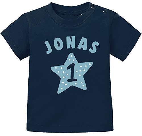 SpecialMe® personalisiertes Baby T-Shirt Name und Zahl 1 zum ersten Geburtstag Motiv Stern Junge/Mädchen Jungen dunkelblau 80/86 (10-15 Monate)