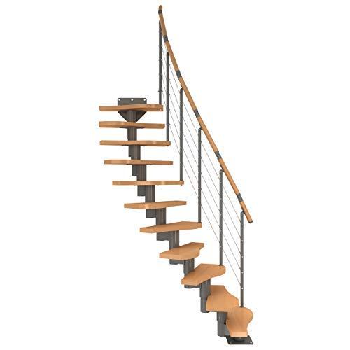 Raumspartreppe mit Designgeländer, Geschosshöhe von 222 bis 276 cm, Stufen: Buche, Unterkonstruktion mittelgrau-metallic