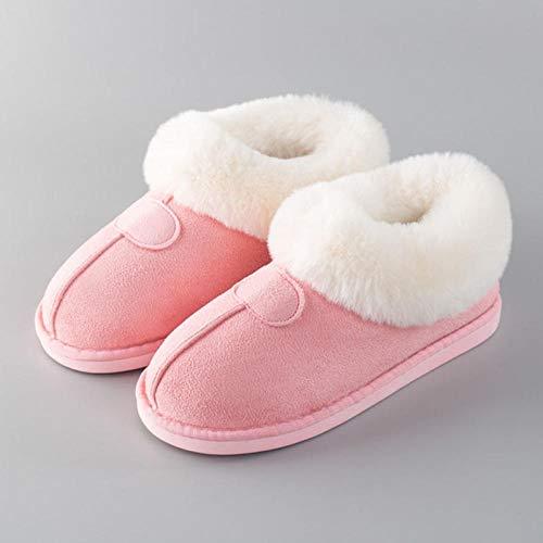 Zapatillas Casa Hombre Mujer Invierno Inicio Zapatillas De Algodón Hombres Zapatillas Gruesas Y Cálidas De Pareja Confinamiento Interior Zapatos De Algodón De Felpa Mujeres-Powder_270_40-41