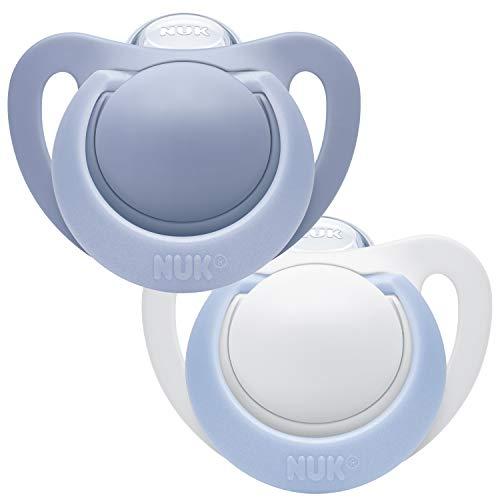 NUK Genius Silikon-Schnuller, für zarte Neugeborene, 0-2 Monate, 2 Stück, Boy, blau