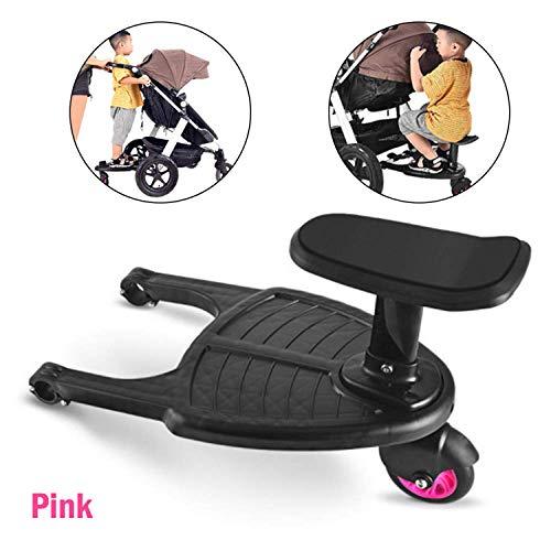 Kinderwagen Wheeled Board Auxiliary Standing Kinderwagen Kinder Sicherheit Komfort Pedal Segelflugzeug Anhänger Zwillinge Baby-Zubehör (Rosa, Einheitsgröße)