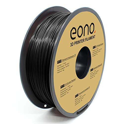 Amazon Brand - Eono Tangle Free PETG 3D printer Filament, 1.75mm, Black, 1kg, Non-brittle, Strong Bonding and Higher Temperature Performance for Strong Parts printing.