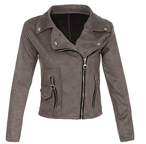 Malito Damen Jacke | Velours Jacke | Biker Jacke mit Reißverschluss | Faux Leather - leichte Jacke 19617 (grau, M)