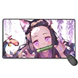 Demon Slayer Nezuko Kamado Anime Mouse Pad Large Gaming Mousepad Extended Desk Mat 29.5'x15.7' Long Non-Slip Rubber Desk Pad for Gamer Office Home