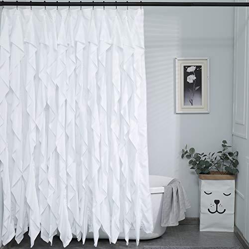 Ameritex White Ruffle Shower Curtain Waterresistant Elegant Farmhouse Shower Curtain for Bathroom 72 x 72 (White)