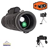 DWP Monocular Telescope - with Free 3in1 Smartphone Lens, 12x50 Monocular Scope for Smartphone, Tripod, Phone Clip, Microfiber Cloth, Carrying case, Compact Magnifying Lenses Monoscope