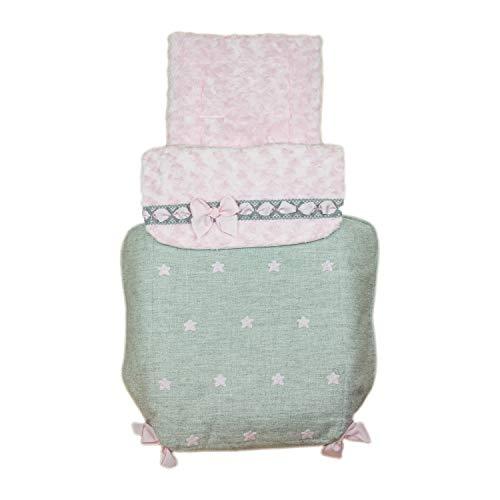 Saco para Capazo de bebé Universal Rosy Fuentes en color gris rosa