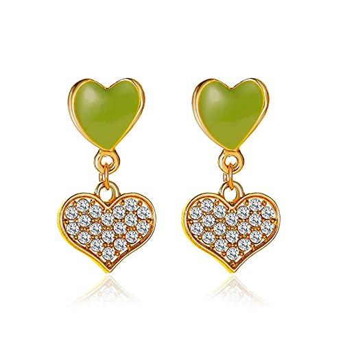 WEFH Pendientes de Mujer Fashion Sweet Cute Pendientes Pendientes de botón con Forma de corazón Doble, Verde