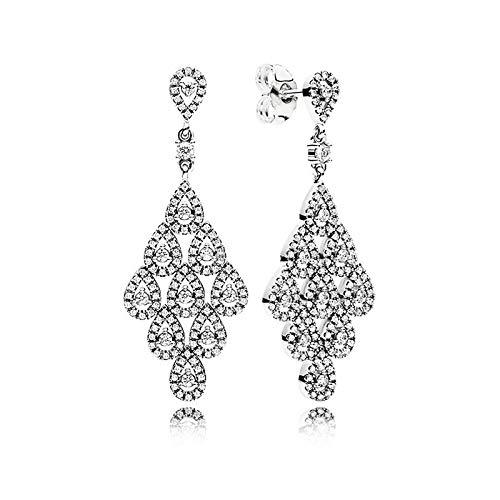 LILANG Pandora 925 Jewelry Bracelet Natural Auténtica Plata esterlina en Cascada Glamour Europe Stud Pendientes para Abalorios de Moda Adecuado para Mujeres Regalo de Bricolaje