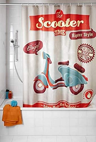 WENKO Anti-Schimmel Duschvorhang Vintage Scooter - waschbar, Polyester, 180 x 200 cm, Mehrfarbig