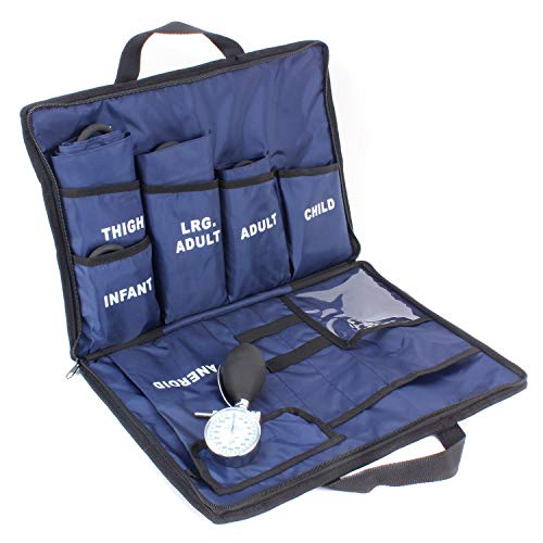 Dixie EMS 5 Cuff Blood Pressure Aneroid Kit System - Infant, Child, Adult, Large Adult, Thigh (Blue)