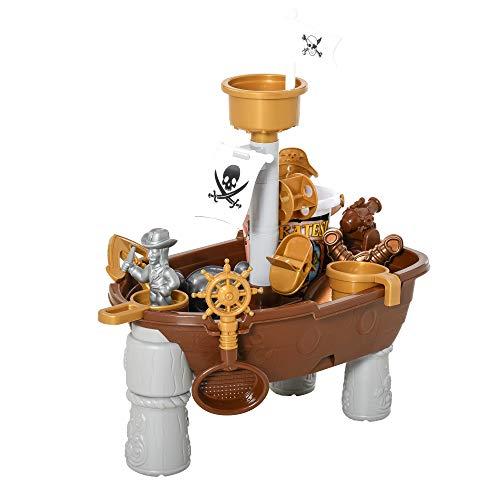 homcom Nave dei Pirati Giocattolo per Bambini, Giochi per Mare e Giardino con 26 Accessori Inclusi, 45.5x30x57.5cm