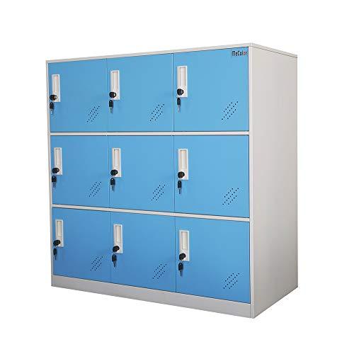 Armadietto in metallo a 9 ante, per salotto e scuola, per la casa, per ragazzi, stanza da letto e ufficio, con serratura, per vestiti, colore bianco, metallo, Blue, 9D