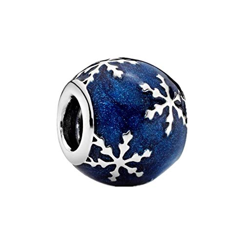 Diy Jewelry 100% 925 Sterling Silver Women Birthday Beads Blue Snowflake Charms Fit Original Pandora Bracelets Diy Trendy Gift