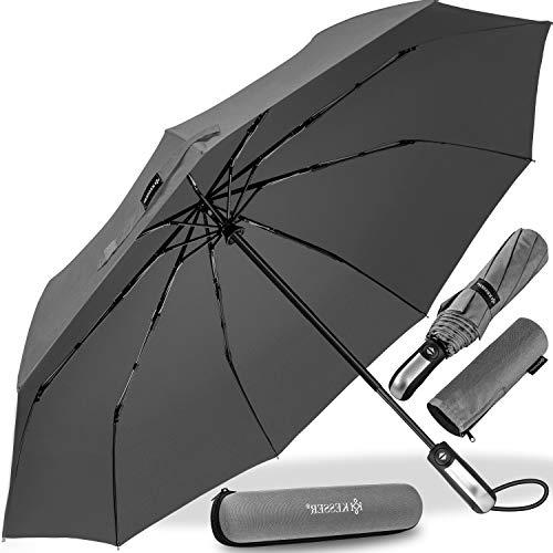 KESSER® Regenschirm Taschenschirm mit Auf-Zu-Automatik - inkl. Schirm-Tasche & Reise-Etui - sturmfest bis 150 km/h - klein - leicht & kompakt - Teflon-Beschichtung - stabil Damen & Herren Grau