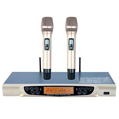 Microphone sans fil Micro sans fil Accueil KTV Singing avancé d'un microphone for deux Handheld Performance Microphone pour le chant karaoké Discours Eglise Réunion ( Color : Gold , Size : Medium )