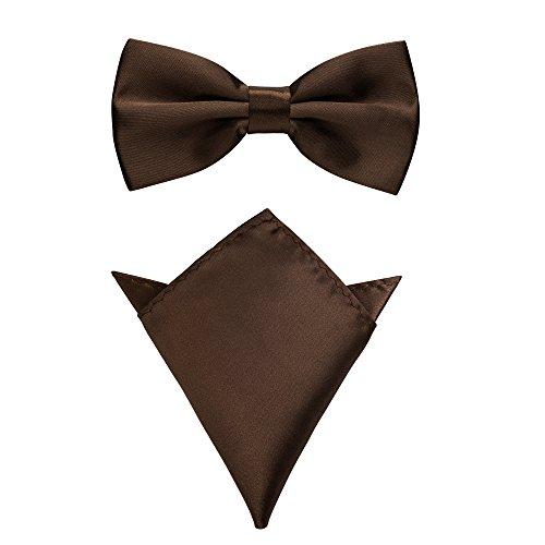 Rusty Bob - Fliege mit Einstecktuch in verschiedenen Farben (bis 48 cm Halsumfang) - zur Konfirmation, zum Anzug, zum Smoking - im 2er-Set (Braun)
