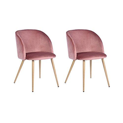 H.J WeDoo 2er Set Vintager Retro Stuhl Sessel Polstersessel Samt Lounge Sessel Clubsessel Fernsehsessel mit hölzernen Metallbeine (Rose)