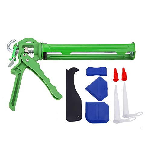 DAFEIKE Caulking Gun Silicone Sealant Caulk Gun 10 oz, 12:1 Thrust Ratio, with Caulking Nozzle Caulk Finishing Tool Kit