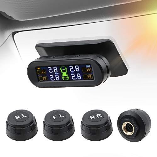 everso Reifendruck Kontrollsystem, TPMS Auto Solar Reifendruckkontrollsystem, mit 4 Sensoren für Wohnmobil Wohnwagen Anhänger LKW SUV KFZ