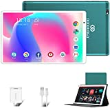 Tablet 10 Inch Android 10.0 Pie Tablets 64GB ROM 4GB RAM 4G SIM WiFi Bluetooth Dual Camera (8MP + 5MP) 8000mAh Tablet PC, Google GMS Certified (Green)