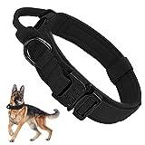 K9 - Collar táctico militar para perro con asa, ajustable, acolchado ancho, nailon, para perros medianos y grandes, entrenamiento y caza, con hebilla de metal resistente, talla M
