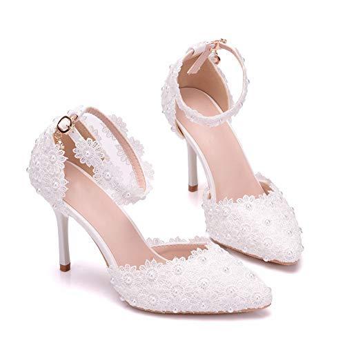 Zapatos de novia de mujer,9 cm Flor de satén de encaje blanco...
