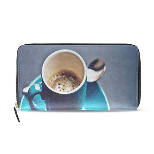 Plsdx Lecker affektive kaffee lange pass kupplung geldbörsen reißverschluss brieftasche fall handtasche geld veranstalter tasche kreditkarteninhaber für dame frauen mädchen männer reisen geschenk